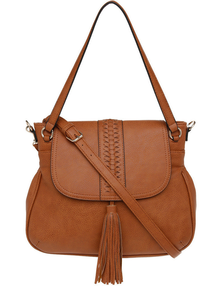 Weave & Tassel Flap Over Crossbody Bag image 1