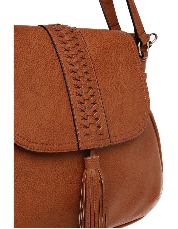 Weave & Tassel Flap Over Crossbody Bag image 3