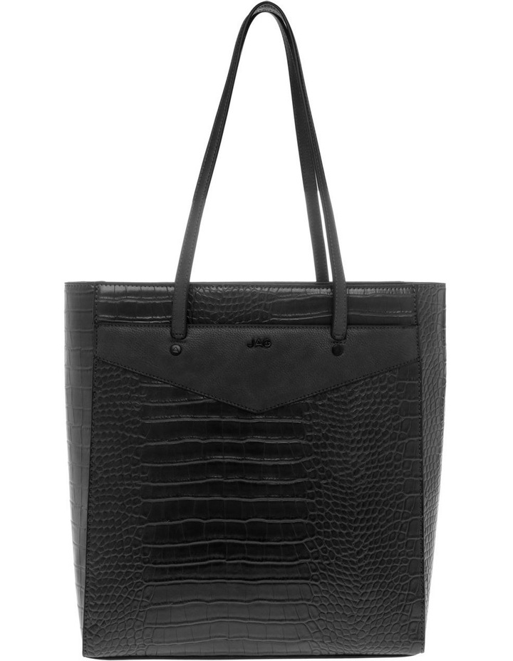 Lucille Zip-Top Black Tote Bag image 1