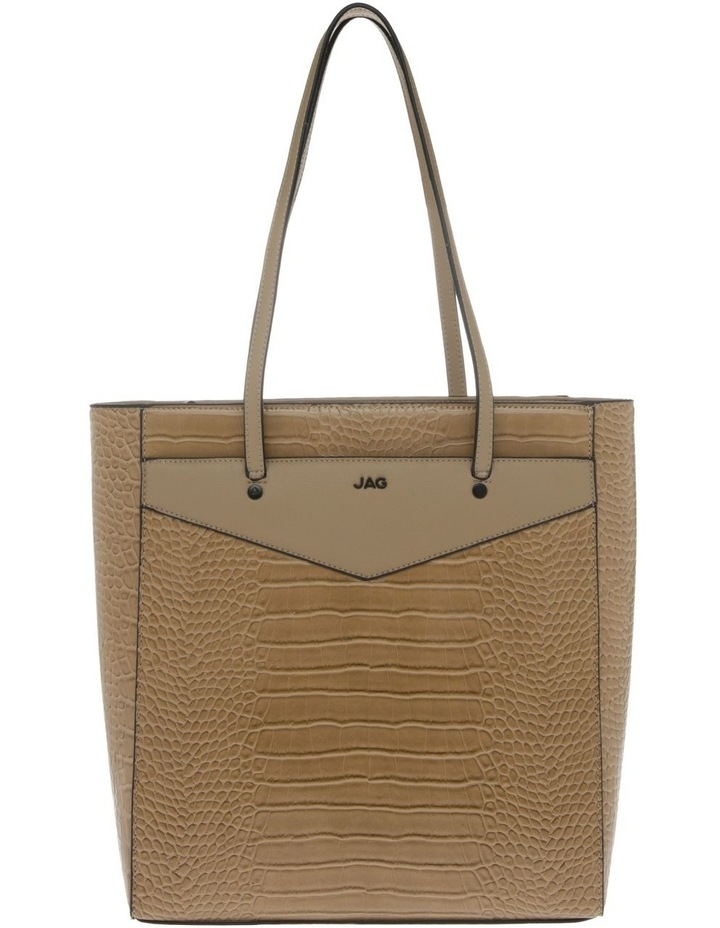 Lucille Zip-Top Tan Tote Bag image 1