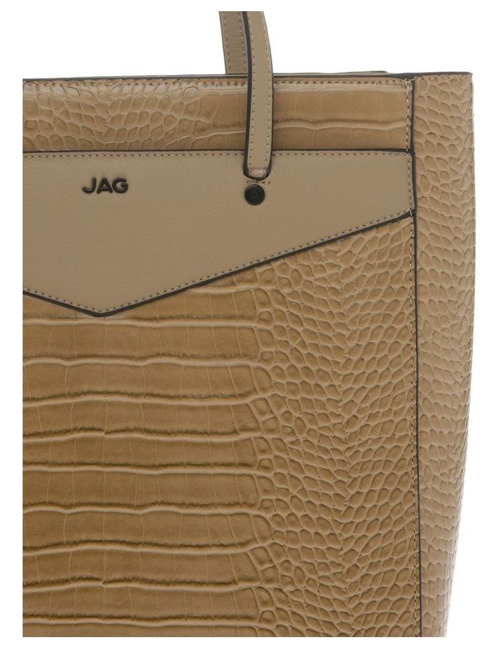 Lucille Zip-Top Tan Tote Bag image 3