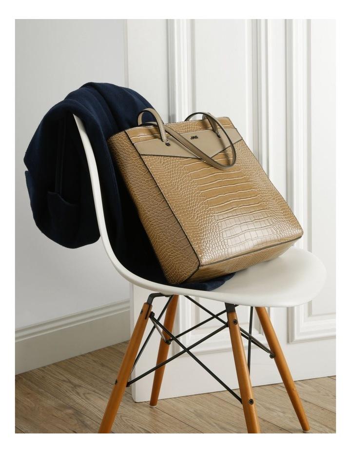 Lucille Zip-Top Tan Tote Bag image 5