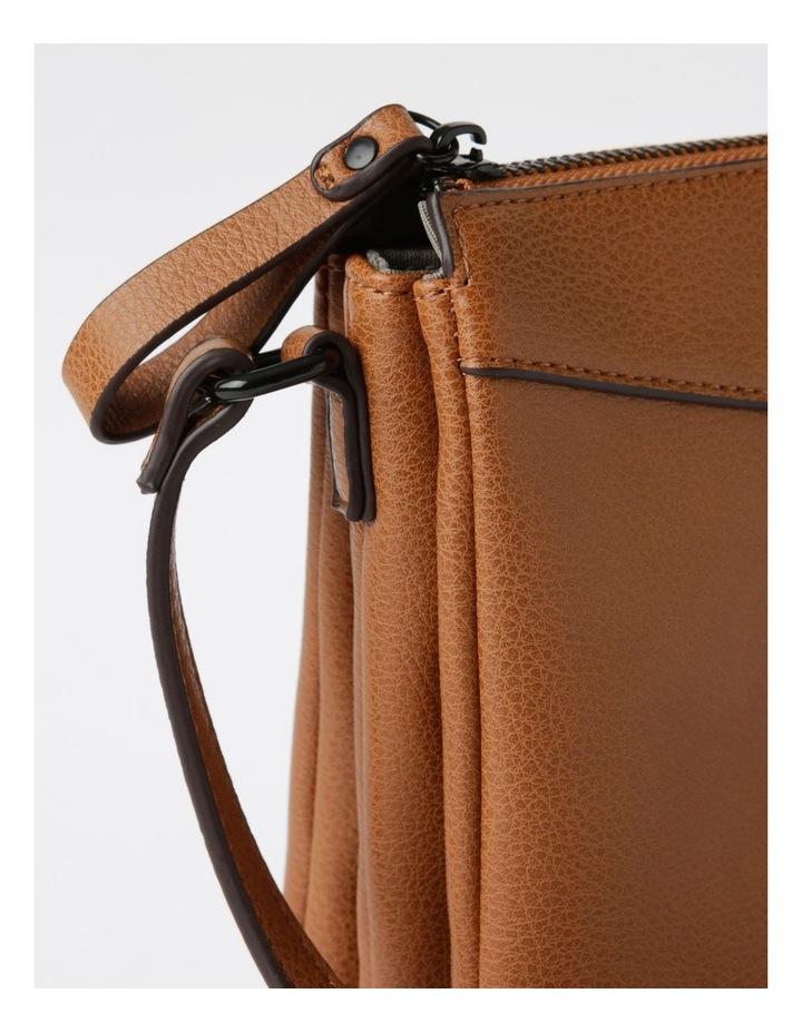 Khloe Zip-Top Crossbody Bag in Camel Brown image 3
