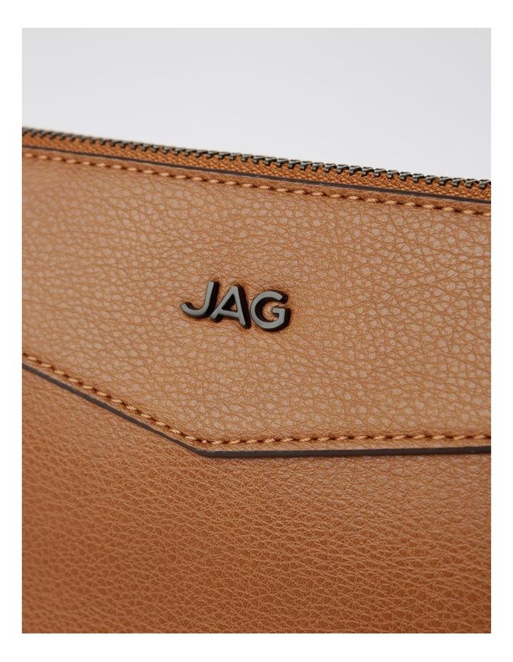 Khloe Zip-Top Crossbody Bag in Camel Brown image 4