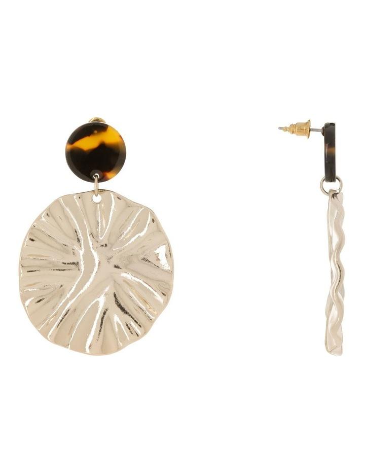 Crinkle Disc Drop Earrings image 2