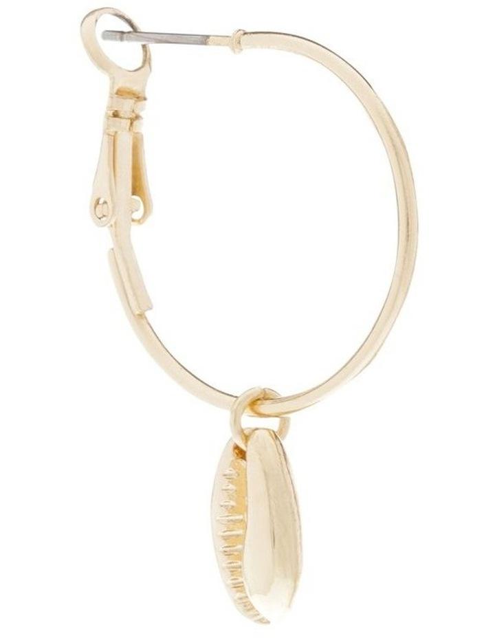 Shell Charm Mini Hoop Earrings image 2