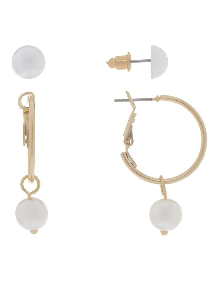 Mini Pearl Hoops & Pearl Stud 2 Pack Earrings image 2