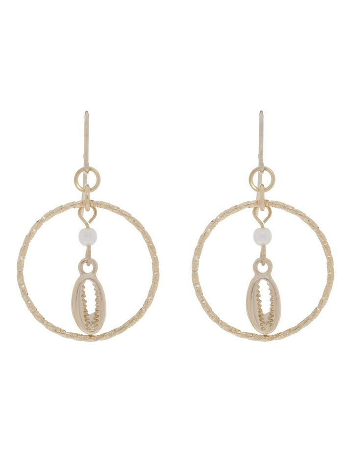 Cowrie Shell And Pearl Hoops Earrings image 1