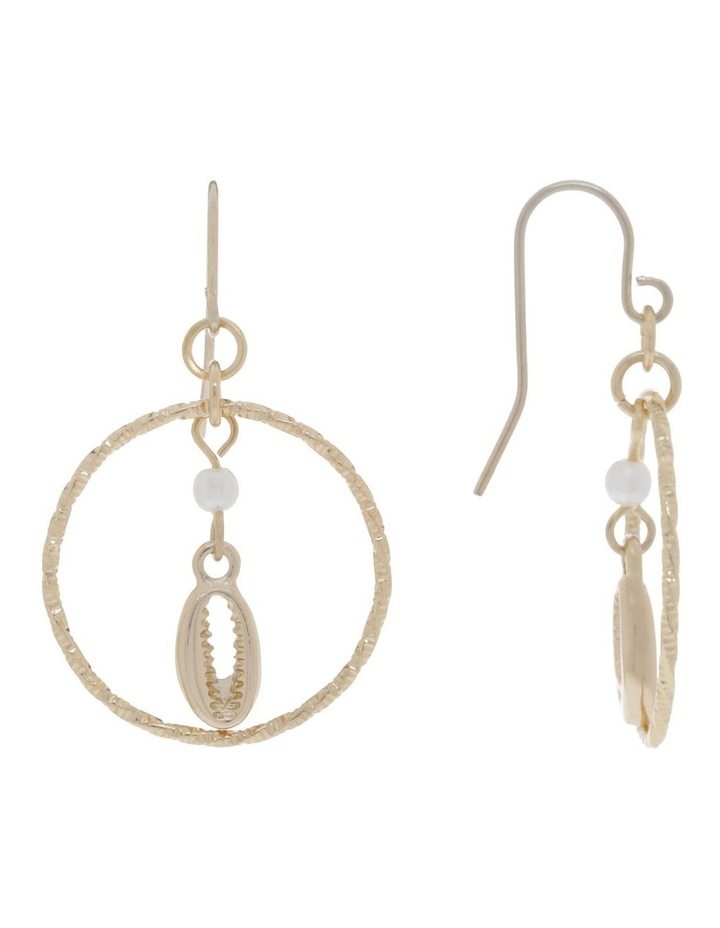 Cowrie Shell And Pearl Hoops Earrings image 2