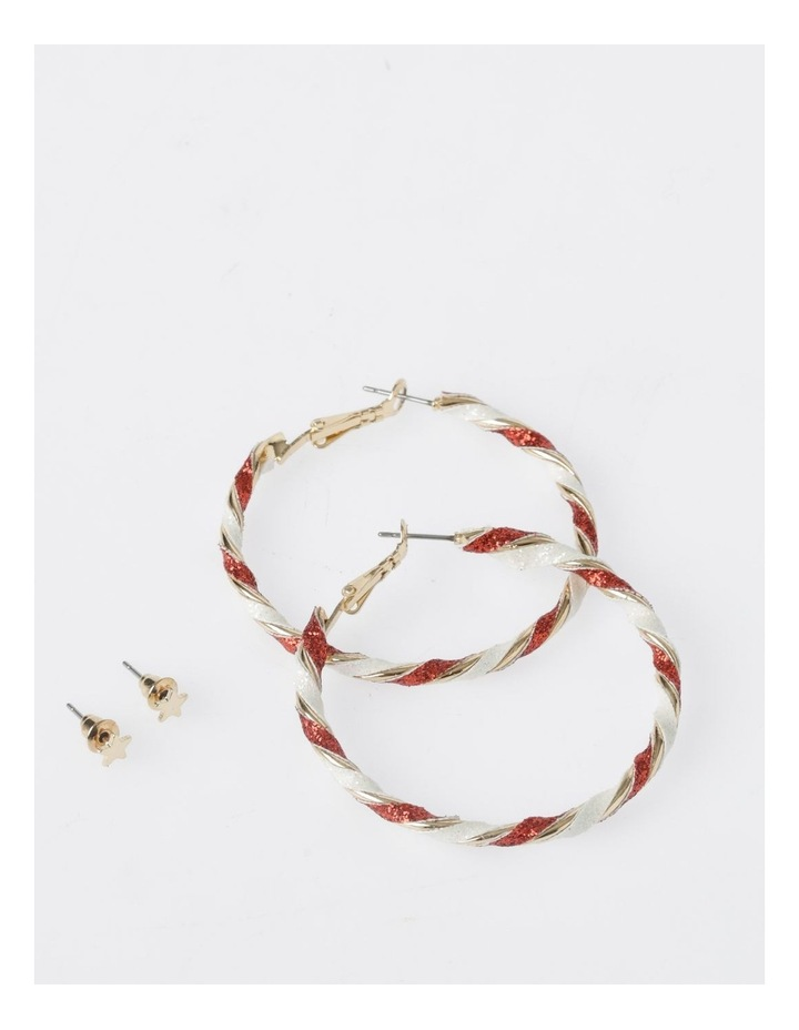 Star & Candy Cane Hoop Earrings 2Pk Earrings image 1