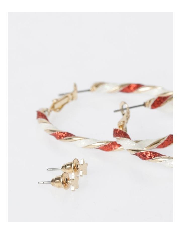 Star & Candy Cane Hoop Earrings 2Pk Earrings image 3