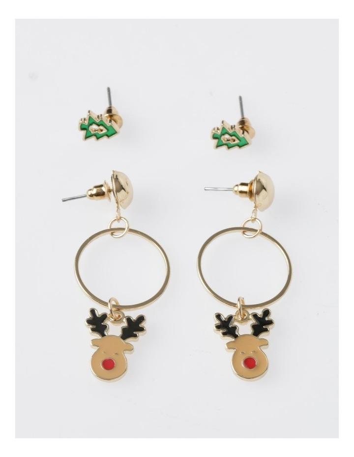 Christmas Tree & Reindeer Earring 2Pk Earrings image 2