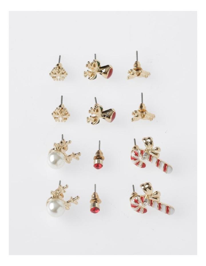 A78804S Candy Cane & Reindeer Stud Earring 6Pk Earrings image 1