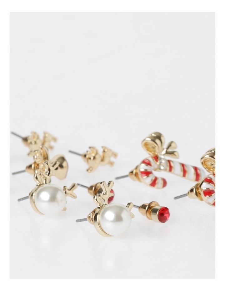A78804S Candy Cane & Reindeer Stud Earring 6Pk Earrings image 2