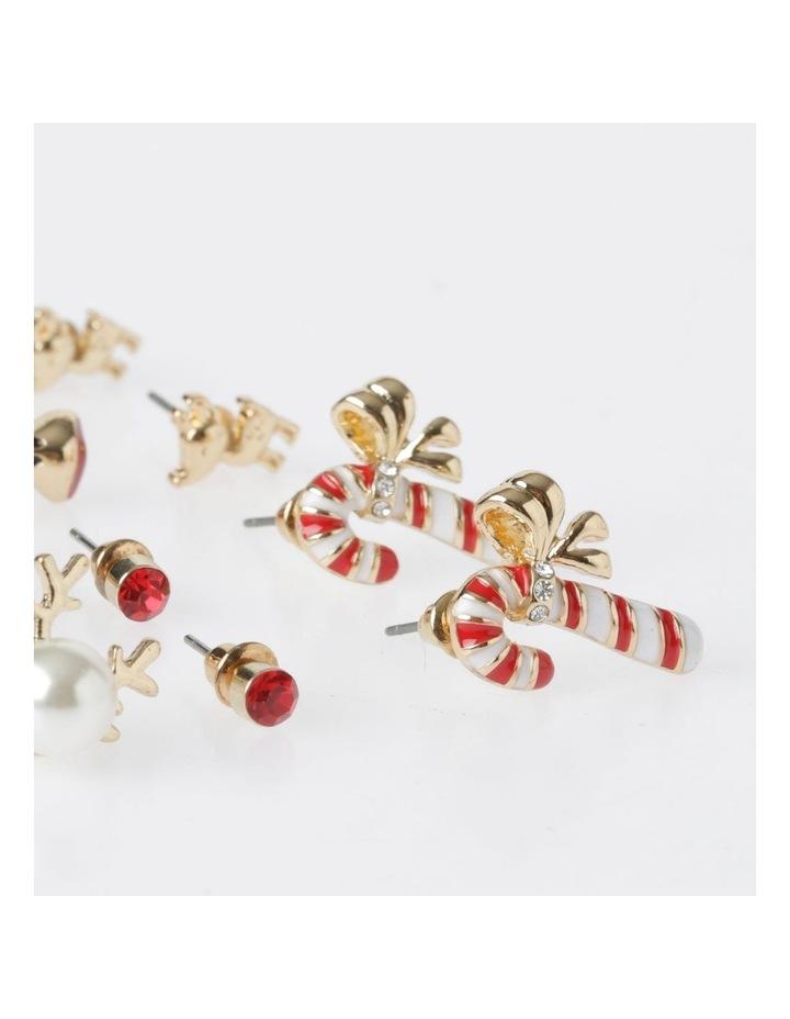 A78804S Candy Cane & Reindeer Stud Earring 6Pk Earrings image 3