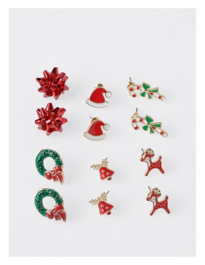 A78806S Christmas Wreath Stud Earring 6 Pack Earrings image 1