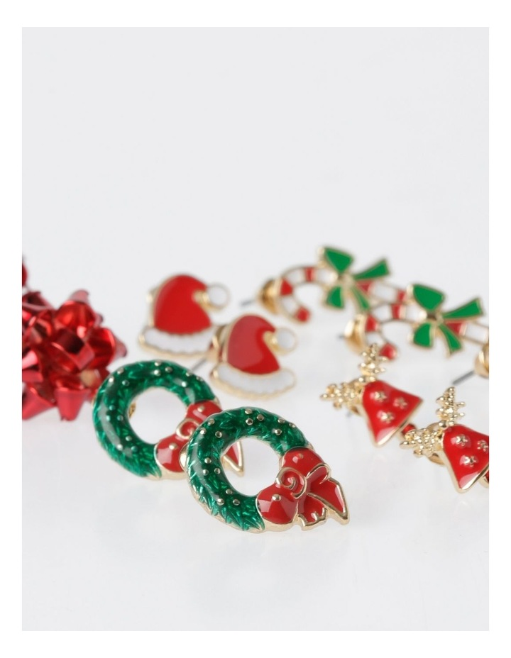 A78806S Christmas Wreath Stud Earring 6 Pack Earrings image 2