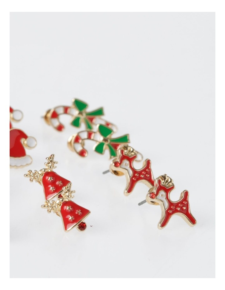 A78806S Christmas Wreath Stud Earring 6 Pack Earrings image 3