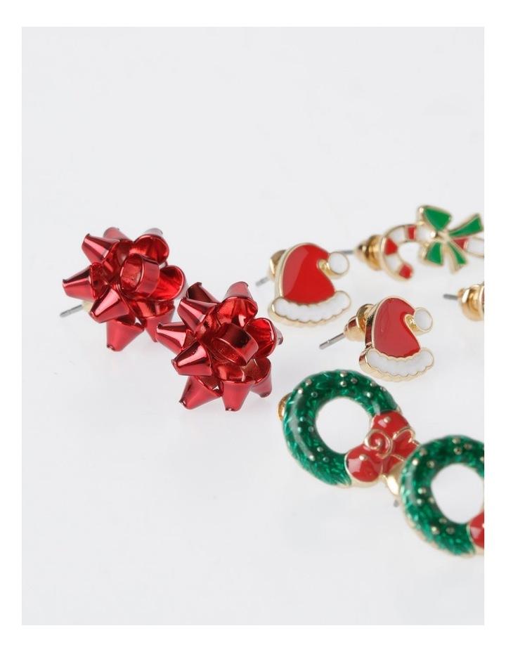 A78806S Christmas Wreath Stud Earring 6 Pack Earrings image 4