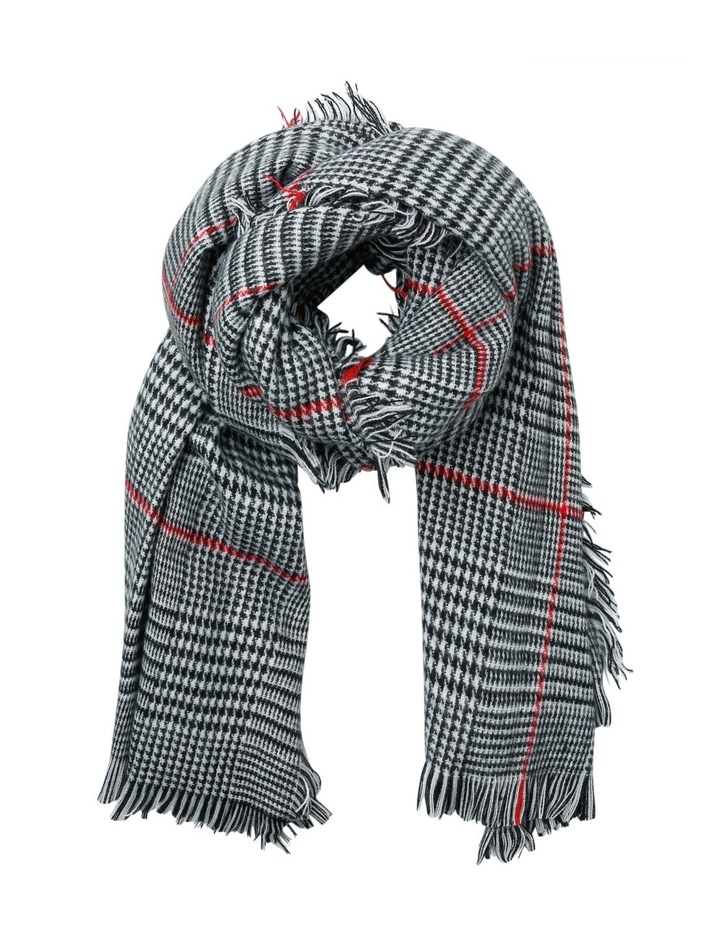 Check Scarf With Red Stripe image 1