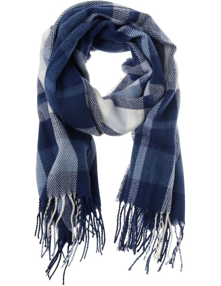 Chevron Check Winter Scarf with Fringe Hem image 1