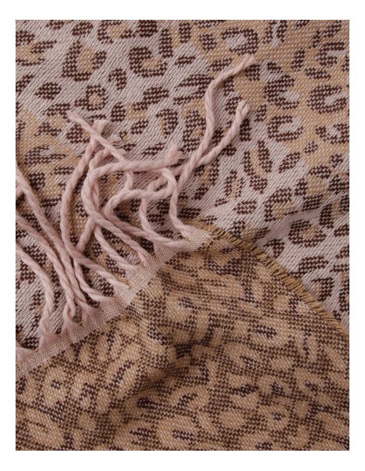 Leopard Print Scarf with Fringe Hem image 2