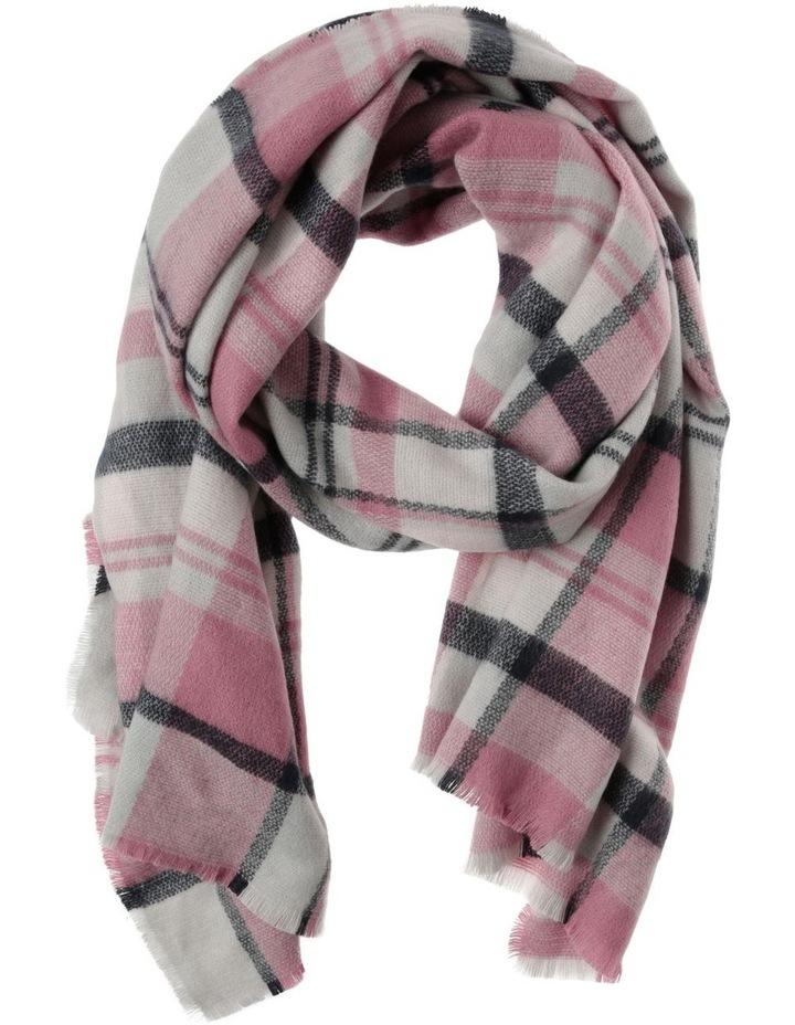 Multi Check Fringed Blanket Scarf image 1