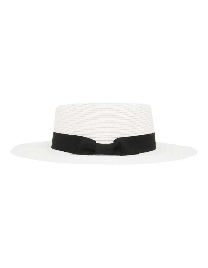 Low Crown Boater Hat - White image 2