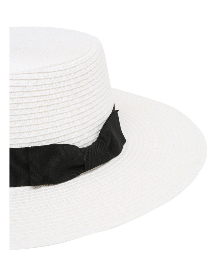 Low Crown Boater Hat - White image 3