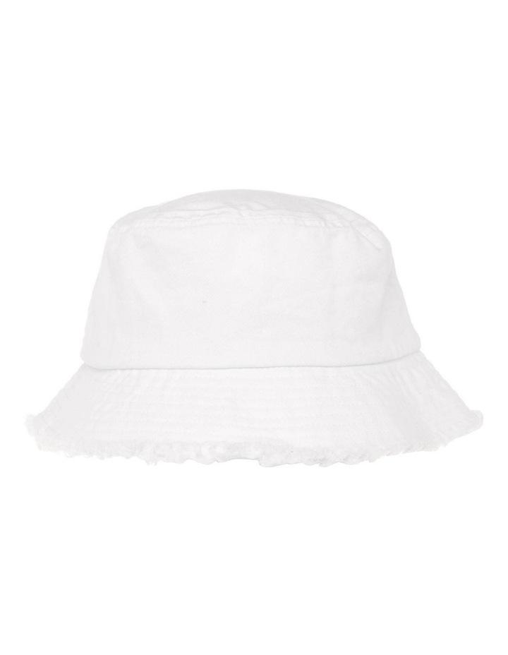 Frayed Edge Bucket Hat - White image 1