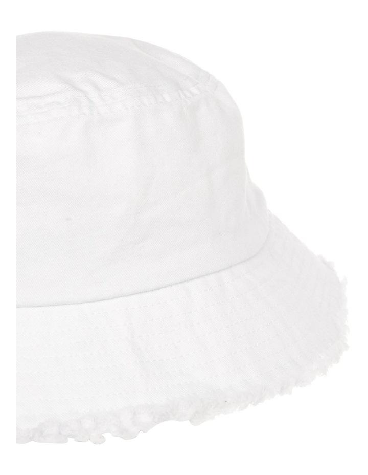 Frayed Edge Bucket Hat - White image 3