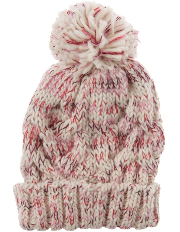 Multicolour Pink Cable-Knit Beanie with Pompom image 1