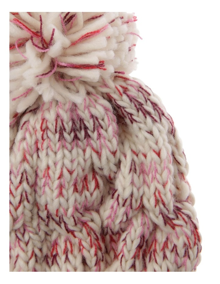 Multicolour Pink Cable-Knit Beanie with Pompom image 2