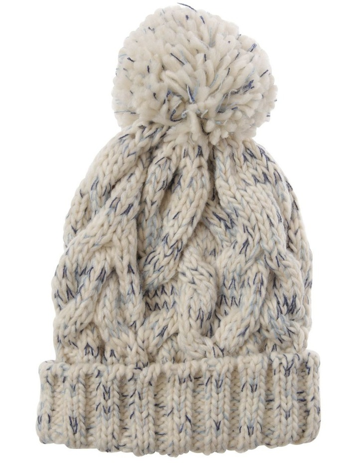 Multicolour Blue Cable-Knit Beanie with Pompom image 1