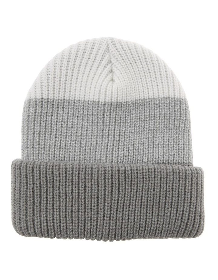Tri-Colour Fold-Up Beanie in Grey image 1