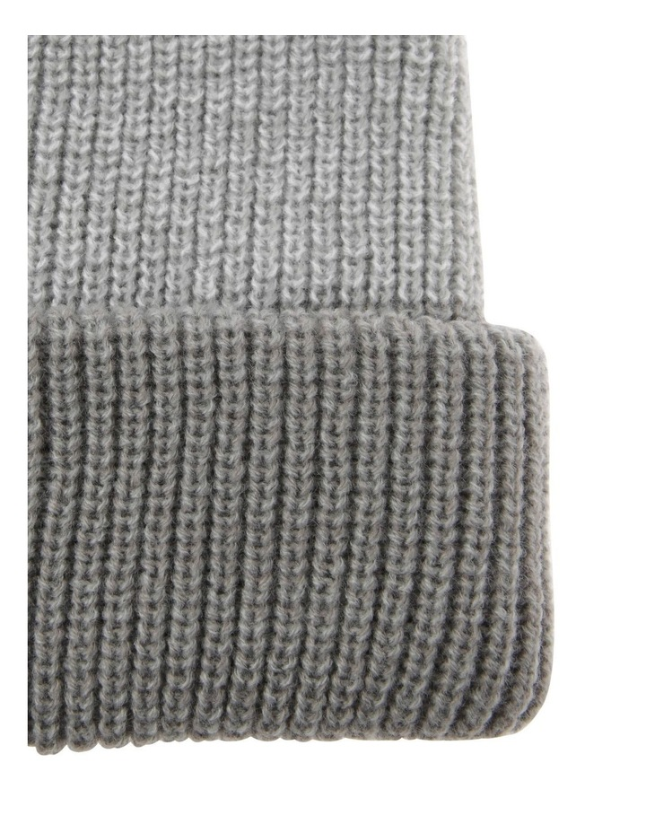 Tri-Colour Fold-Up Beanie in Grey image 2
