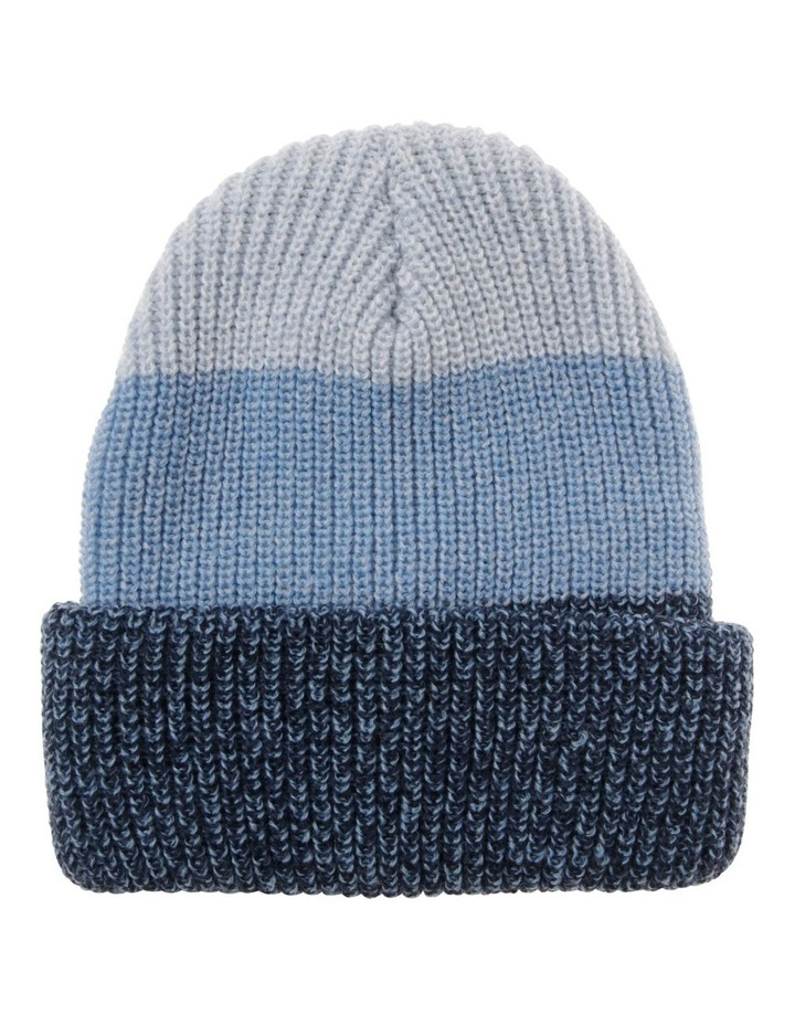 Tri-Colour Fold-Up Beanie in Blue image 1