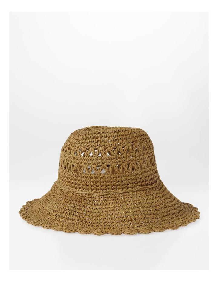 Scalloped Edge Straw Bucket Hat Summer Hat image 1