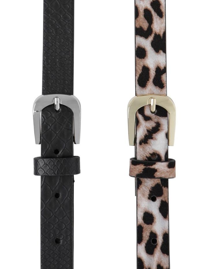2 Pack Skinny Croc & Leopard Belt image 1