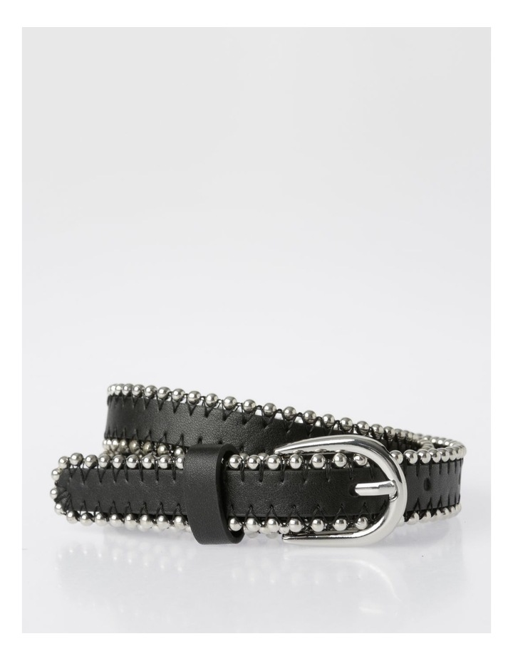 Silver Buckle Belt with Beaded Edge image 1