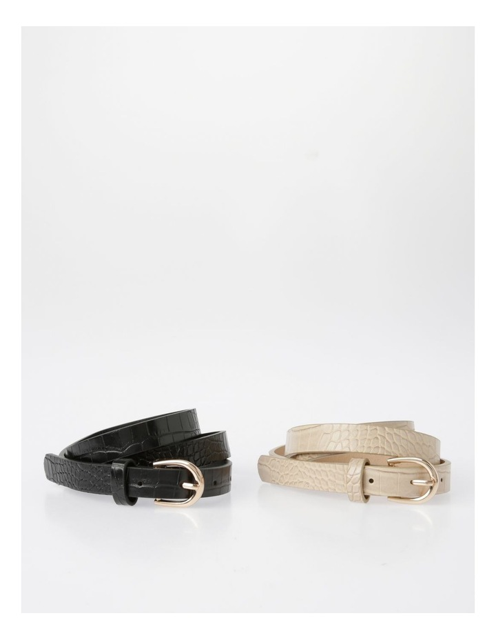 Skinny Croc with Gold Buckle Belt image 1