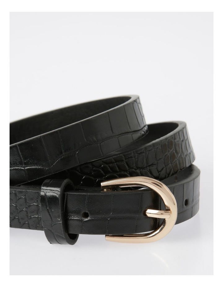 Skinny Croc with Gold Buckle Belt image 2