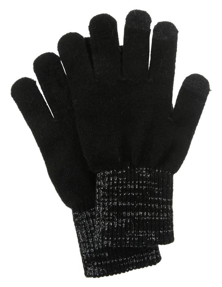 Lurex Rib-Knit Gloves in Black image 1