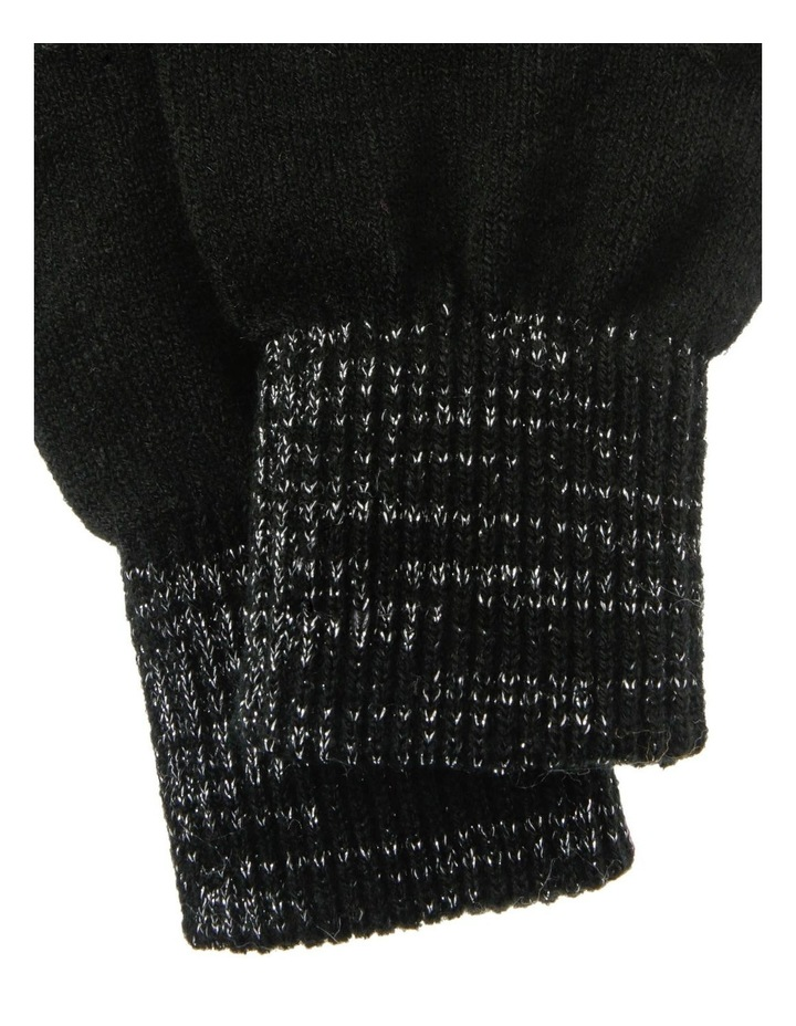 Lurex Rib-Knit Gloves in Black image 2