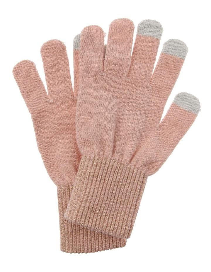 Lurex Rib-Knit Gloves in Pink image 1