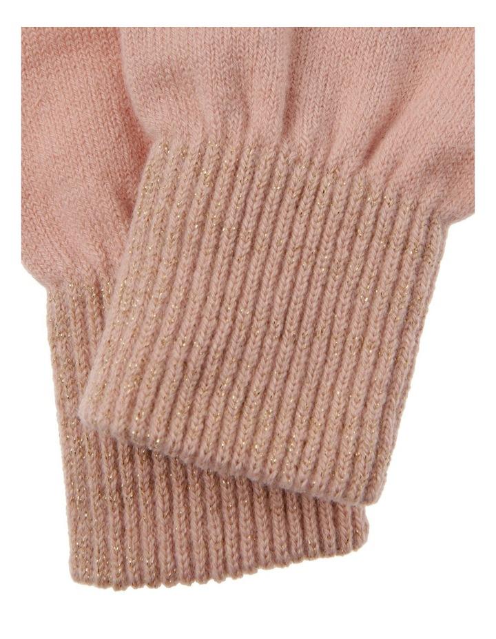 Lurex Rib-Knit Gloves in Pink image 2