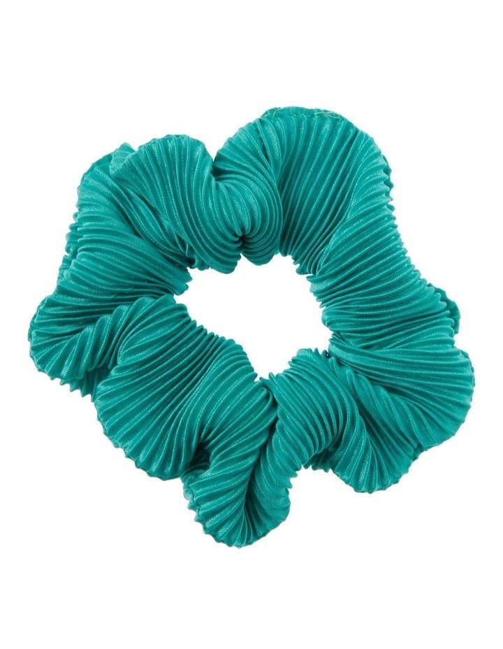 Aqua Pleated Hair Scrunchie image 1