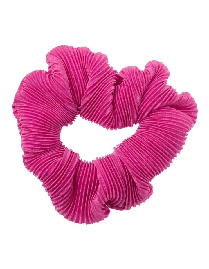 Hot Pink Pleated Hair Scrunchie image 1