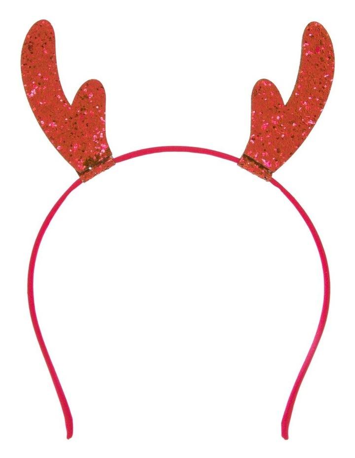 Glitter Reindeer Headband - Red image 1