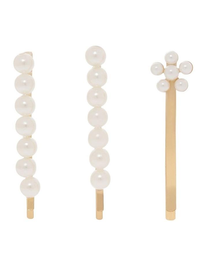 3 Pack Pearl & Flower Hair Pin image 1